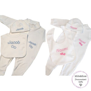 Personalised Sleepsuit Bib Hat Boy Girl New Baby Gift Set Embroidered