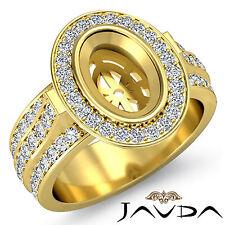Halo Pave Set Diamond Engagement Oval Semi Mount Huge Ring 1.65C 18k Yellow Gold