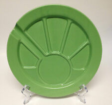 """Hoffritz Green Fondue Party Dessert Plate Sectioned Divided 9 1/2"""""""