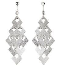 Clip On Earrings - brushed silver plated drop dangle earring - Kadin S