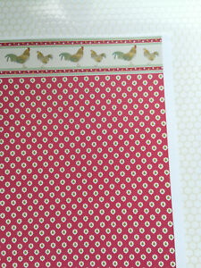 """Dollhouse Brodnax Wallpaper Kitchen Red """"Rooster"""" 1:12 Scale Miniature"""