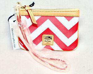 DOONEY & BOURKE XC08 Red White Chevron Stripe Zip Wristlet Natrual Leather Trim