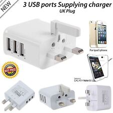 Multi Port USB Charger 3 Ports Adapter Travel Wall AC Power Supply with UK Plug