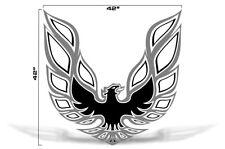 "42"" X 42"" Firebird Hood Graphic Decal Sticker For Pontiac Trans Am GREY BLACK"