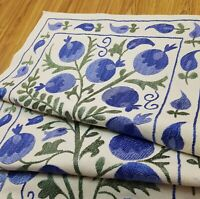 Ethnic blue suzani table runner,embroidery dresser scarf,uzbek suzani bed runner