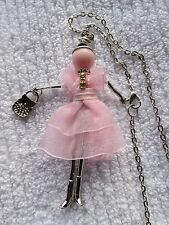 DOLL PENDANT NECKLACE PINK DRESS. RHINESTONES. Silver Body/chain