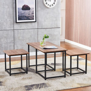 Nest of 3 Industrial Coffee Table and 2 Stools Set Living Room Office Lounge BN
