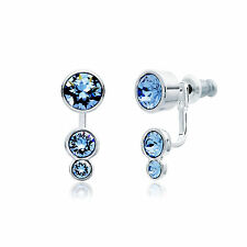 MYJS Slake Dot Earring Jackets Set with Light Sapphire Swarovski Crystals WGP