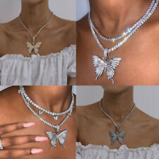 Butterfly Choker Necklace Crystal Silver Gold Handmade Jewelry Lady Wedding Gift