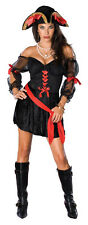LADY PIRATE SIREN Costume Sexy Adult Black Red Trim Dress Womens Medium 10 12
