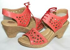 ✿ SPRING STEP Italy Lamay Coral Leather Wedge Sandals 9 M 40 EXCELLENT! L@@K!22