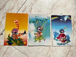 3 old vintage Air India Air Lines Co. color picture Post cards from India 1970