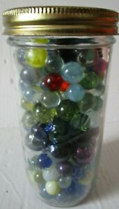 vintage Jar of Marbles 175 total Clear with bubbles Ribbons Solid extra small