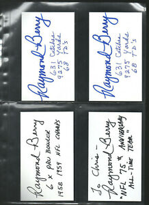 (1) RAYMOND BERRY W/ STATS AUTOGRAPHED/AUTO/SIGNED/HAND SIGNED INDEX CARD 3X5 B