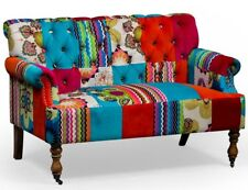 Bright Multi Colour Patchwork Velvet Two Seater Sofa 84 x 130 x 78 cm