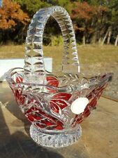 Crystal Clear German Lead Crystal Cranberry Red & Clear Glass Basket w/ Handle