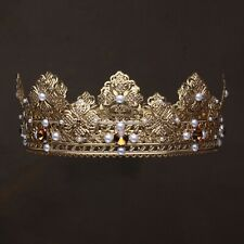 GOLD KING CROWN, WEDDING MALE FULL ROUND CROWN Imperial Crown Men King Costume