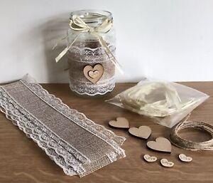 3 MYO Jam Jar Covers Wedding Table Centrepiece Flowers Tea Lights Home Decor J11