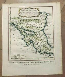 NICARAGUA COSTA RICA DATED 1754 NICOLAS BELLIN NICE ANTIQUE MAP 18TH CENTURY