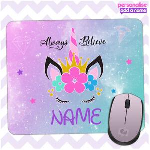 Personalised UNICORN Mouse Mat Pad Kids PC Laptop Computer Room Girls Fantasy