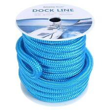 "50ft Double Braided Nylon Dockline Dock Line Mooring Rope Dock Line 3/4"" Blue"