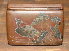 Antique Signed Meiji Period Japan Japanese Mixed Metal Bronze Silver Stamp Box