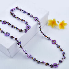 "Women's EMERALD AMETHYST beads necklace long 46"" multi-tone multi-shape NEW"