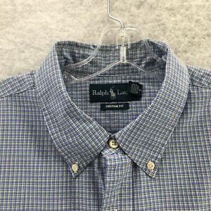 Ralph Lauren Mens Blue Plaid Custom Fit Long Sleeve Button Down Shirt Size XXL