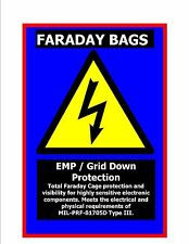 2 Large Faraday Cage Bags -Total EMP protection Mil Spec Prepper ESD Survivalist