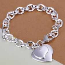 "Unique & Elegant 925 Sterling Silver Heart style shape 7"" Bracelet"