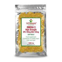 Omega 3 Fish Oil SOFTGELS 1000mg High Strength Immune Health 180/EPA/120/DHA