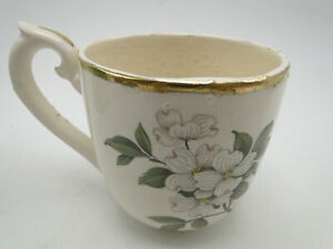 Antique Left Handed Porcelain Mustache Cup Hand Painted Floral Gold Timmed