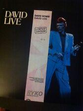 "RYKO DAVID BOWIE ""David Live"" LTD EDITION No. 2638 Clear Vinyl 1990 audiophile"
