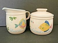Studio Nova Barrier Reef Creamer & Sugar Bowl Fish Tropical Blue Pink Yellow