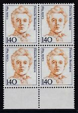 BRD 1989 postfrisch 4er Block mit Unterrand MiNr. 1432  Cécile Vogt