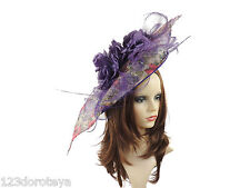 Large Purple/Pink/Cream Floral Fascinator for Ascot, Weddings, Proms, Derby E2