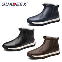 SUADEX Mens Winter Snow Boots Waterproof Non-Slip Warm Cotton Shoes
