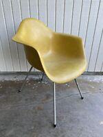 Herman Miller Eames Rare DAG Arm Shell Chair Mid Century Yellow H Guard Base
