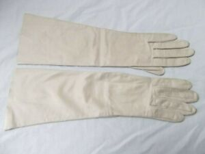 Vtg Caresskin by Superb 6.5 ivory leather elbow long 15in gloves washable SOILED