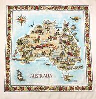 Vintage Australia Map Collectible Linen Tablecloth 52 x 52 Linen Down Under