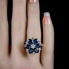 2.50Ct Oval Cut Blue Sapphire & Diamond Engagement Ring 14K White Gold Finish