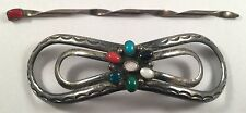 Vintage DC Thomas Navajo Sterling Silver Turquoise Stones Hair Pony Tail Holder