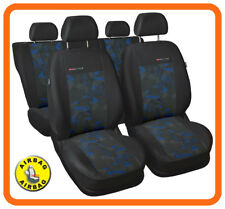 Car seat covers full set fit Skoda Fabia - charcoal grey / blue  velour
