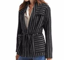 Gap Wool-blend stripe short coat, Black Sripe Sz S (3110)