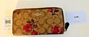 Coach Signature Khaki/Floral Accordion Zipper Wallet