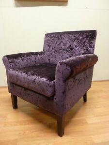 New Contemporary Plum Velvet Fabric Accent Arm Chair Sofa *Furniture Store*