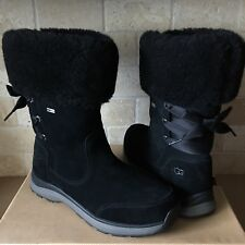 UGG Ingalls Black Waterproof Leather Sheepskin Cuff Bow Snow Boots Size 8 Womens