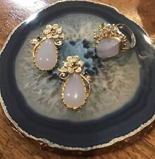 Handmade Jewelry Natural Blue Chalcedony 925 Sterling Silver Set