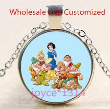 Vintage Snow White Cabochon Tibetan silver Glass Chain Pendant Necklace#4618