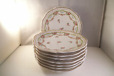 Vintage O & E G Royal Austria Set of 8 Salad Plates Pink Rose Garland B